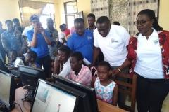 COMMUNICATION MINISTER, HON. URSLAR OWUSU VISITS THE KODIE COMMUNITY INFO/ICT CENTRE